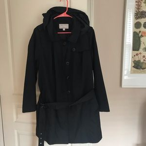 Black Hooded Water Resistant Trench